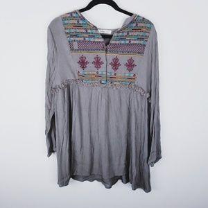 indigo soul embroidery long sleeve Bohemian shirt